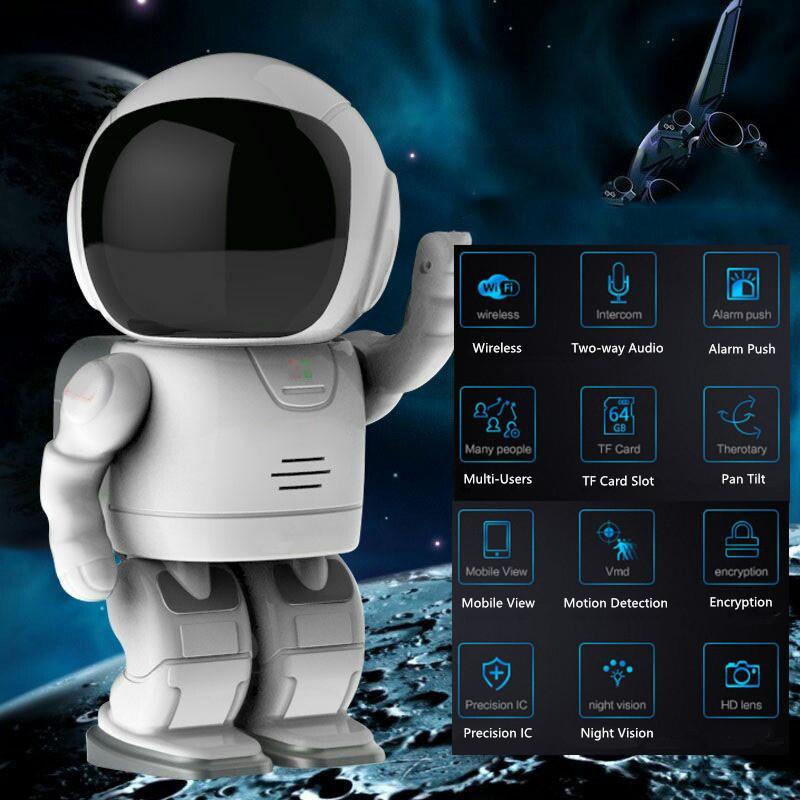 HQCAM 1080P Астронавт Робот IP-камера Wi-Fi беспроводной P2P безопасности ночного наблюдения видения ИК Home Security Robot Baby Monitor