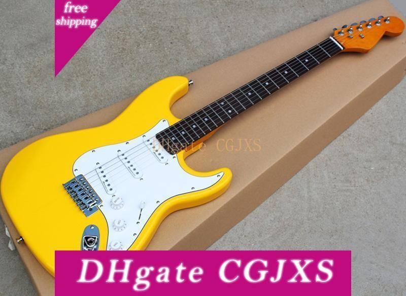 Giallo all'ingrosso della fabbrica chitarra elettrica con Sss Pickups, tastiera in palissandro, giallo manico in acero, può essere personalizzato come Richiesta