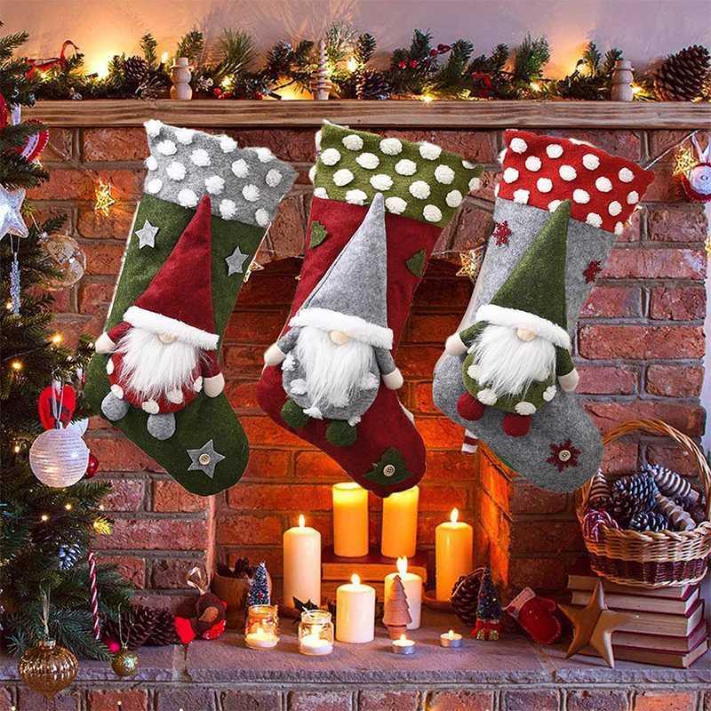 Noel çorap Noel Çorap Faceless Bebekler Şeker Hediye Çanta Yılbaşı Süsler kolye Şömine Noel ağacı süsleme
