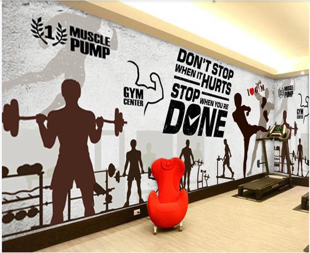 пользовательские фото обои 3d фреска на ретро спортивный фитнес клуб изображение стены домашнего декора обоев стены Ностальжик в гостиной