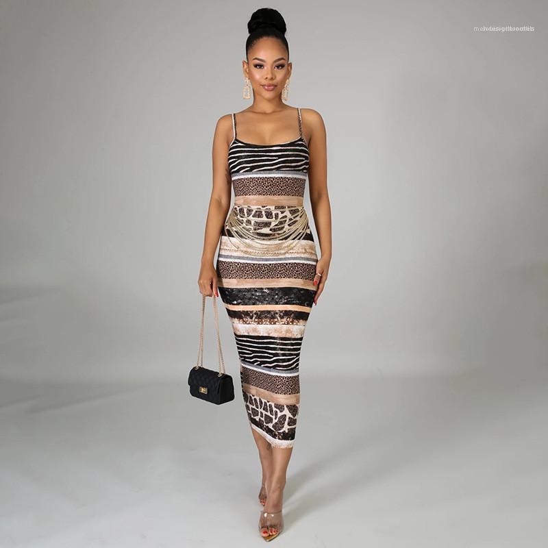 Abbigliamento Estate Famale Designer Dress Womens stampato bretella del vestito sexy di modo sottile della confezione Fianchi