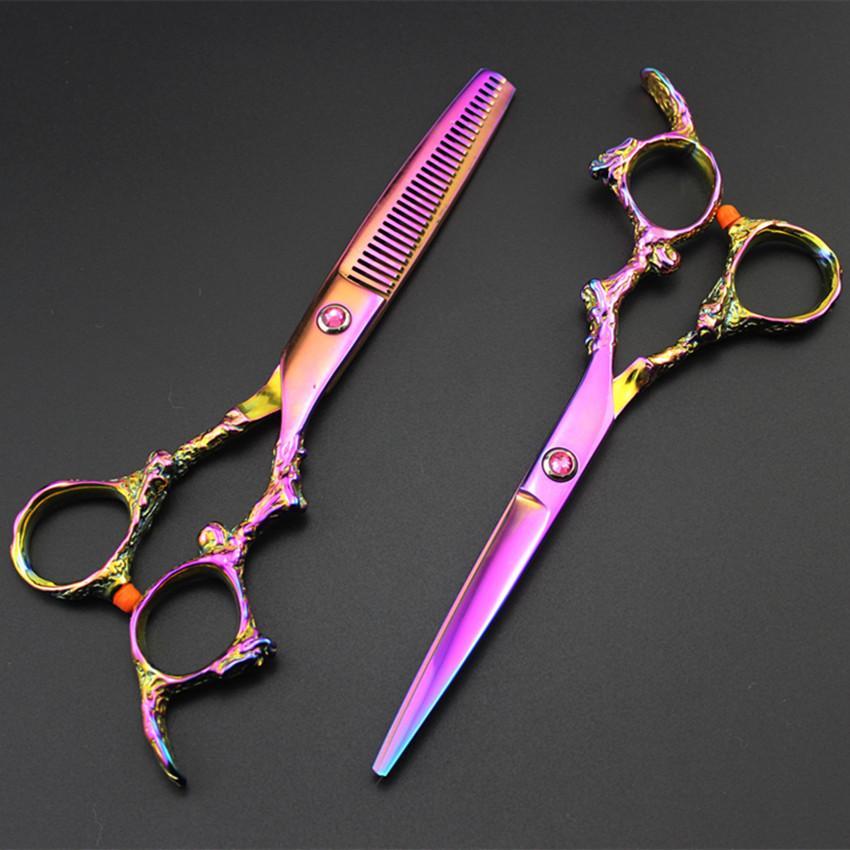 makas kuaför makas salonu inceltme sissors berber makas Kesme Profesyonel 6 inç japonya 440C EJDERHA kesim saç makas