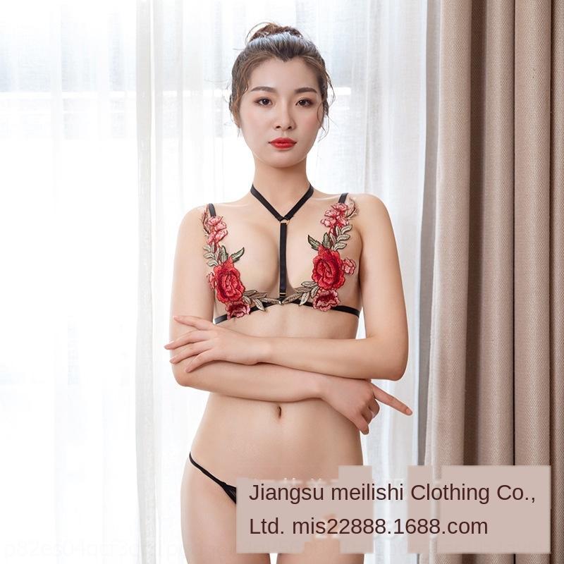 JErOX D2iyx Sexy Sexy открытого множество трехточечный ремень Sling нижнего белье кружево роза вышивка перспектива сорочки искушение 8266