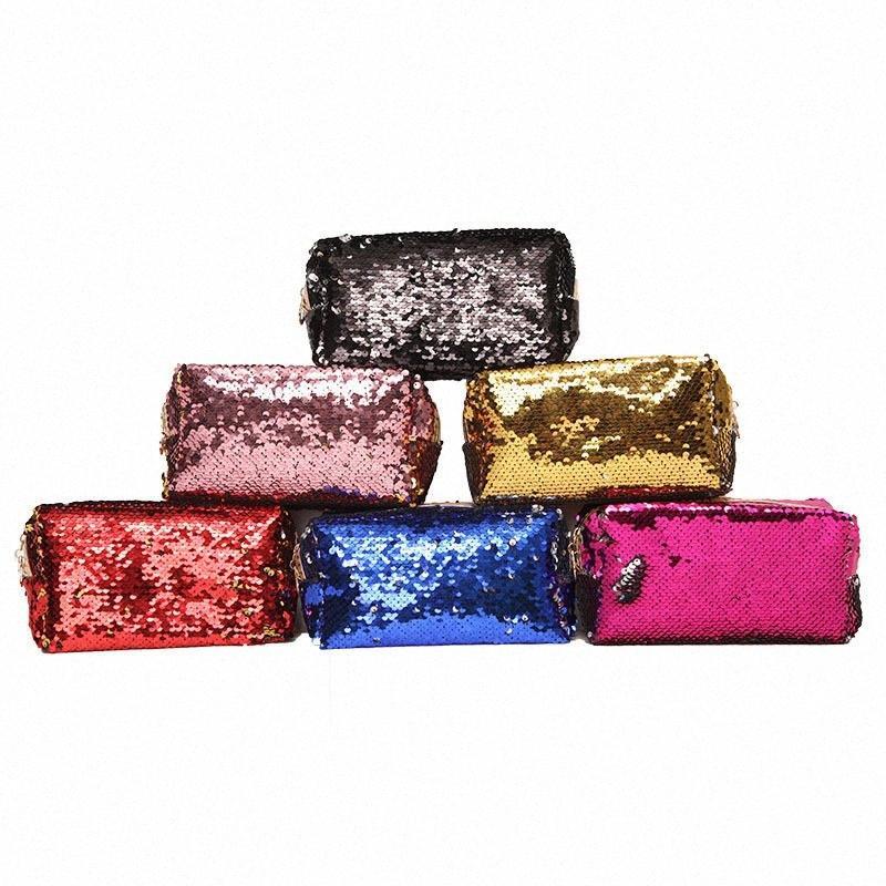Lantejoula composição cosmética do saco sacos de armazenamento Mermaid Handbag Glitter Coin Carteira Zipper Bolsa para Mulheres frete grátis Ayo8 #