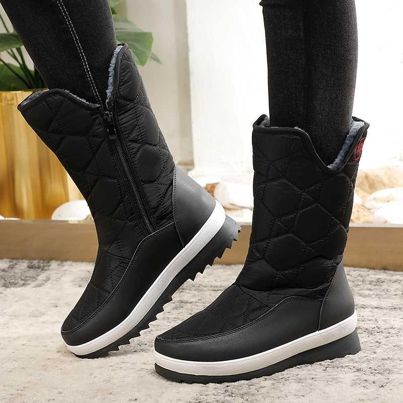 Moda inverno Stivali Donne mezzo polpaccio stivali da neve scarpe impermeabili Scarpe Donna Giù peluche piattaforma casual Botas De Mujer