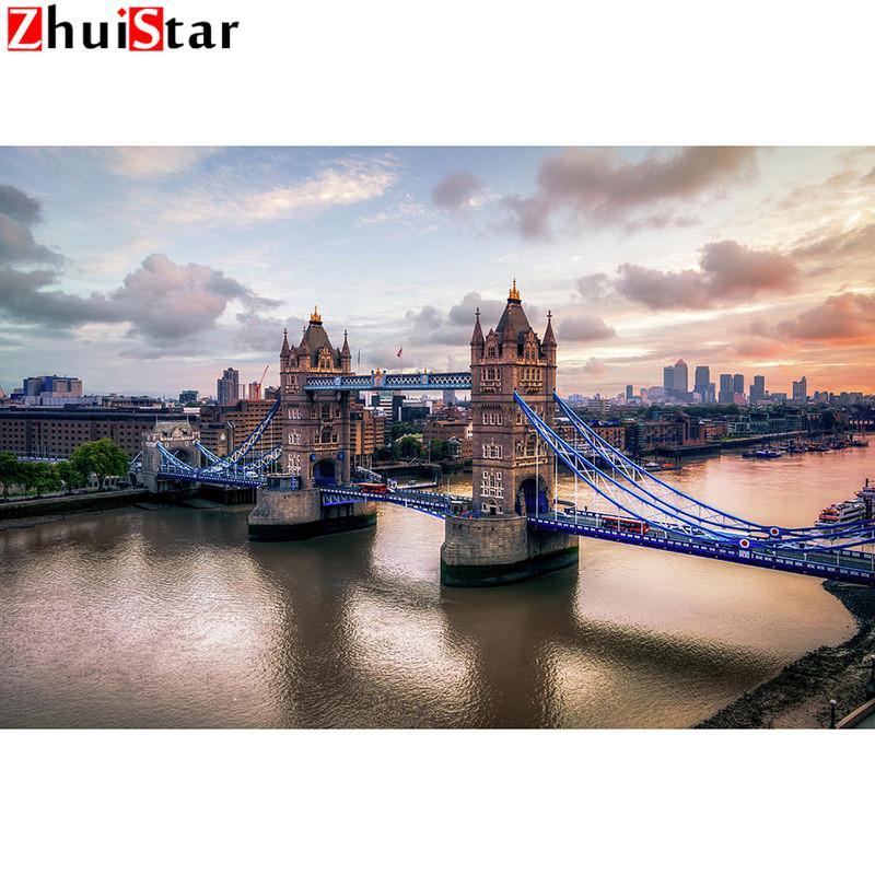 5d diamante Pittura Drill piazza piena diamante ricamo torre-ponte Immagine di strass decorazione domestica regalo WHH