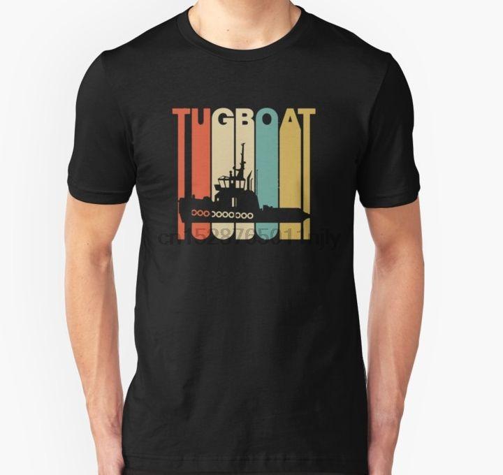 Hombres camiseta estilo antiguo remolcador silueta shirt camiseta camiseta impresa de tes superior