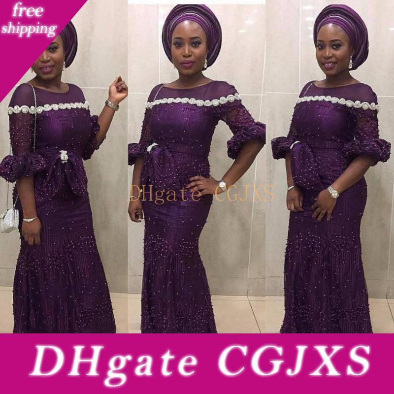 Aso Ebi roxo Sereia Prom Sheer Neck frisada Metade mangas compridas vestidos de noite Peplum Partido Mulheres Africano Vestido Custom Made