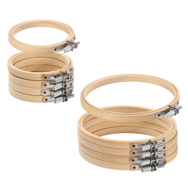 10pcs / set 8-30cm Holzstickrahmen Rahmen Set Bambus-Stickerei-Band-Ringe für DIY-Kreuz-Stich-Nadel-Fertigkeit-Werkzeug