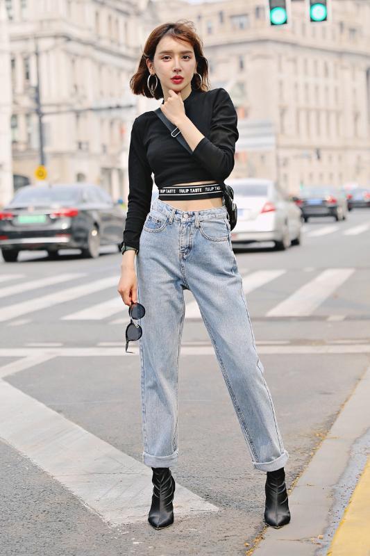 Осень и зима нового уличная моды низкой талии потерять широкие ноги мыть джинсы женщины, дикие тонкие прямые джинсы женщины