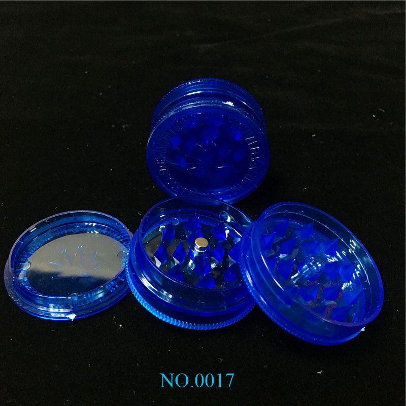 Дешевые 1,7 дюйм синих акриловые Херб шлифмашина 3-части Пластикового Херб шлифмашина дым Херб шлифмашина Fress Доставку World Wide QQ
