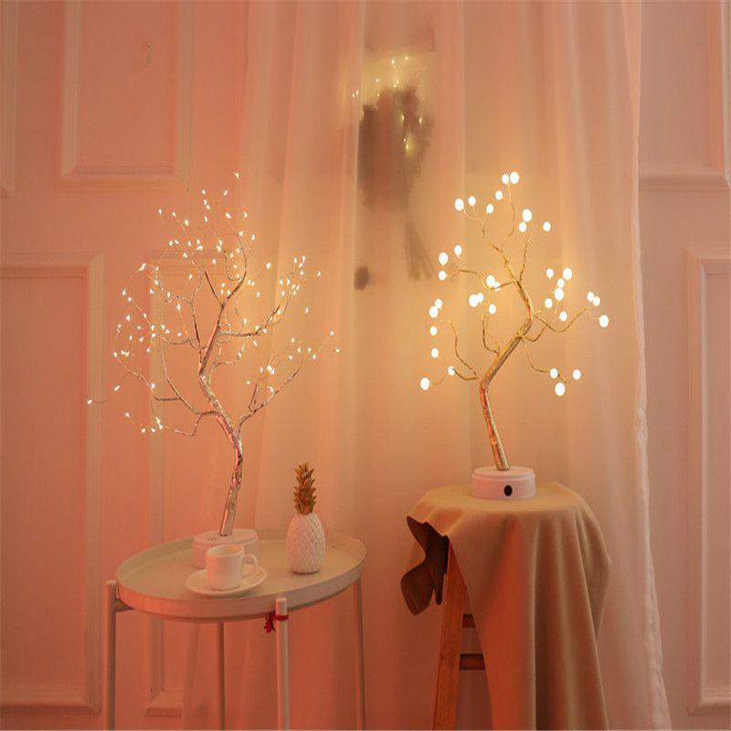 Dormitorio Noche de luz LED Mini árbol de navidad de alambre de cobre con guirnaldas lámpara Para el hogar Niños de iluminación Luz de Navidad Decoración luminaria de vacaciones