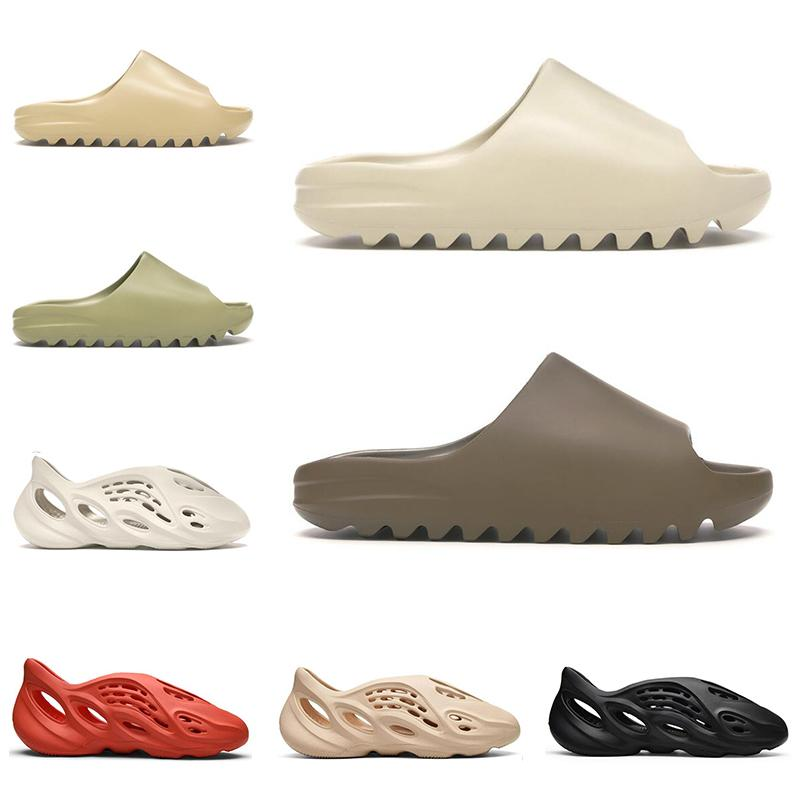 2020 slide kanye west slippers Yeni slayt erkekler kadınlar tasarımcının terlik Kemik Çölde Kum Reçine üçlü siyah moda slaytlar erkek sahil oteli sandalet