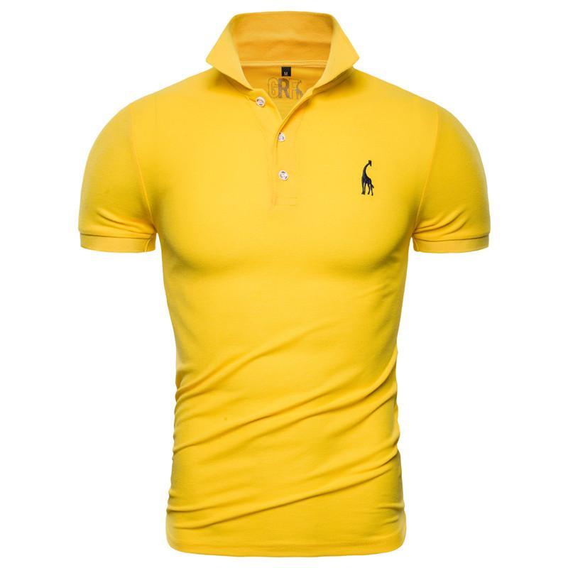 Moda Tasarımcısı Yeni Polo Shirt Erkekler Katı Casual Pamuk Polo Zürafa Erkekler Slim Fit Nakış Kısa Kollu Erkek Polo 10 Renkler