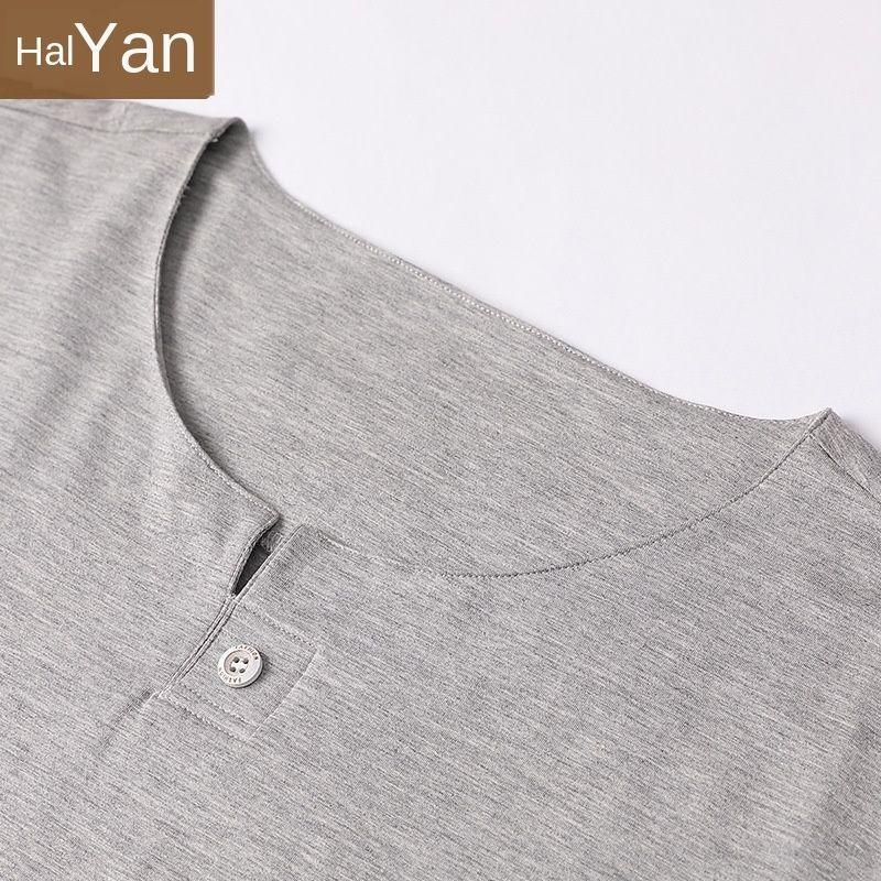 KCKiH b7C1o ropa del verano de algodón desgastado modier de punto de manga corta para las personas jóvenes y de mediana edad pueden ser frescas fuera del hogar y de los hombres