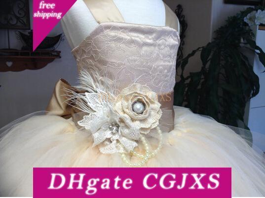 Lace Vintage Rustic Champagne Cor Spaghetti Fluffy Tulle vestido de baile vestidos da menina de flor para festa à noite Casamentos