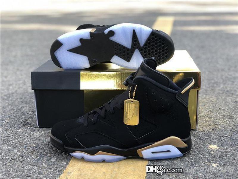 2020 Hava Otantik 6 DMP tanımlanması Moment Black Man Basketbol Siyah Nubuk Üst Metalik Altın Retro Spor Sneakers CT4954-007 Ayakkabı