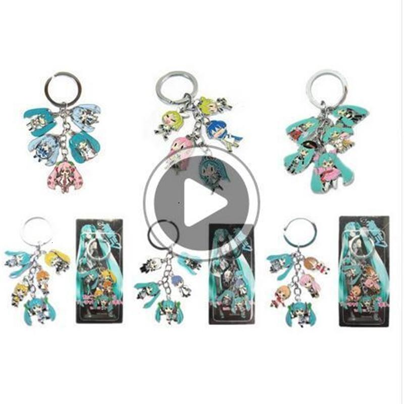 Hot!10Set Mixed Classic Cartoon Hatsune Miku Figure pendants doll color metal keychain Japanese anime key ring Free shipping