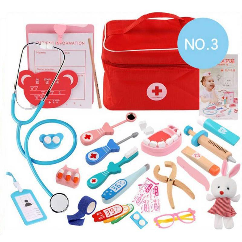 Wooden Toy Pretend Play Doctor Set Nurse Injection Medical Kit Role Play Educational Simulation Doctor Tools Kids Toys Girl Gifts