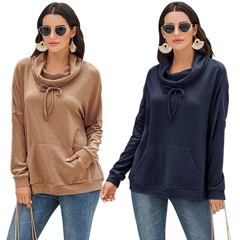 Women Sweatshirts Autumn Long Sleeve Tops Ladies Loose Hoodies Solid Casual Pullover Sweatshirt Female Turtleneck Sweaters 050812