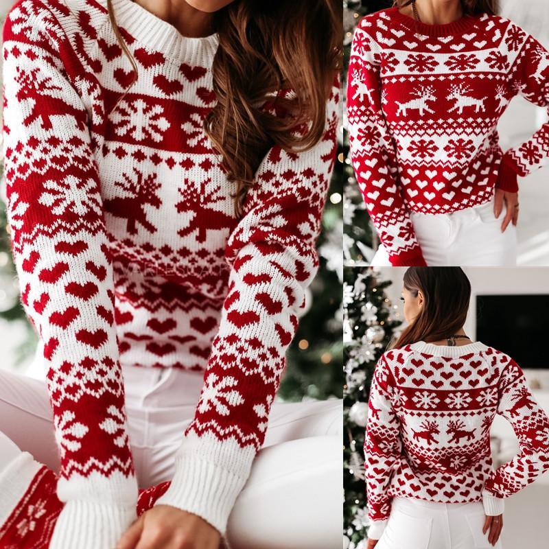 Dropshipping Femmes Designer Pulls Automne Hiver manches longues Noël Elk Tricot Pull Mode précarisés Vêtements