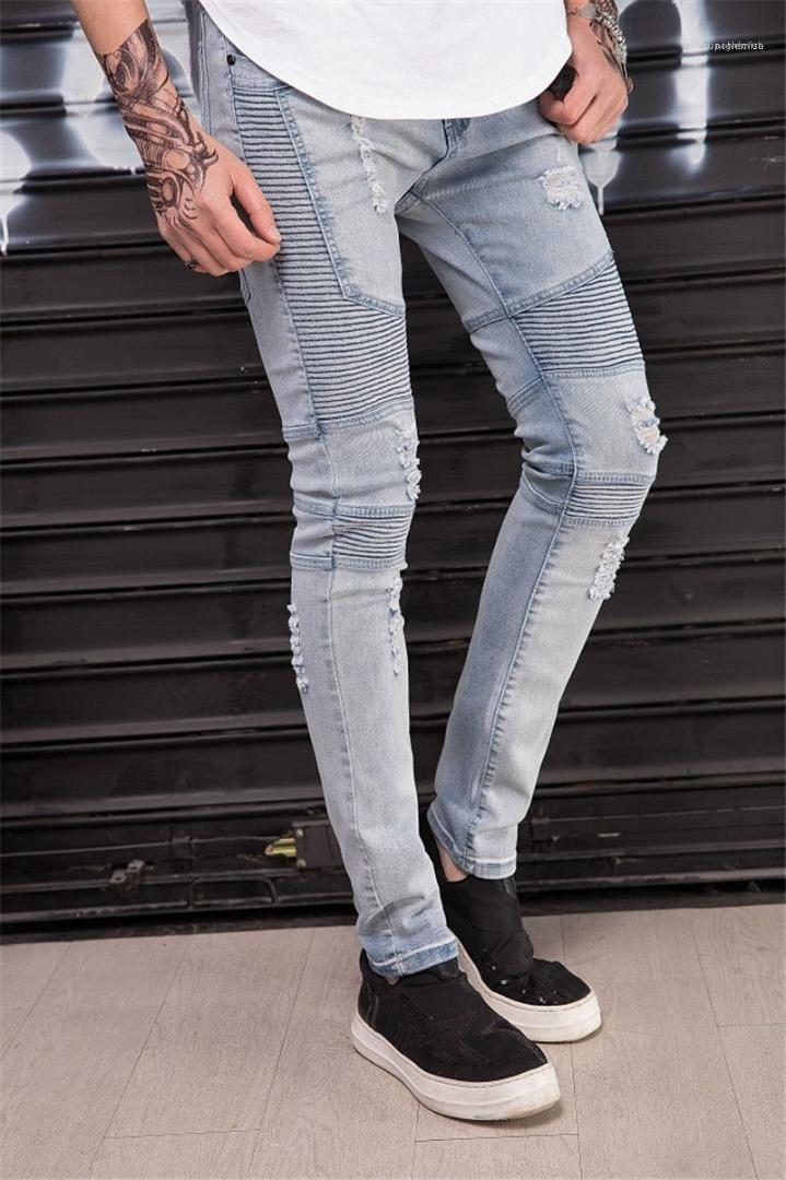 Mens Designer Holes Jeans Stretch koreanischen Männer dünne Drape-Bleistift-Hosen Mode Homme dünne beiläufige Jean
