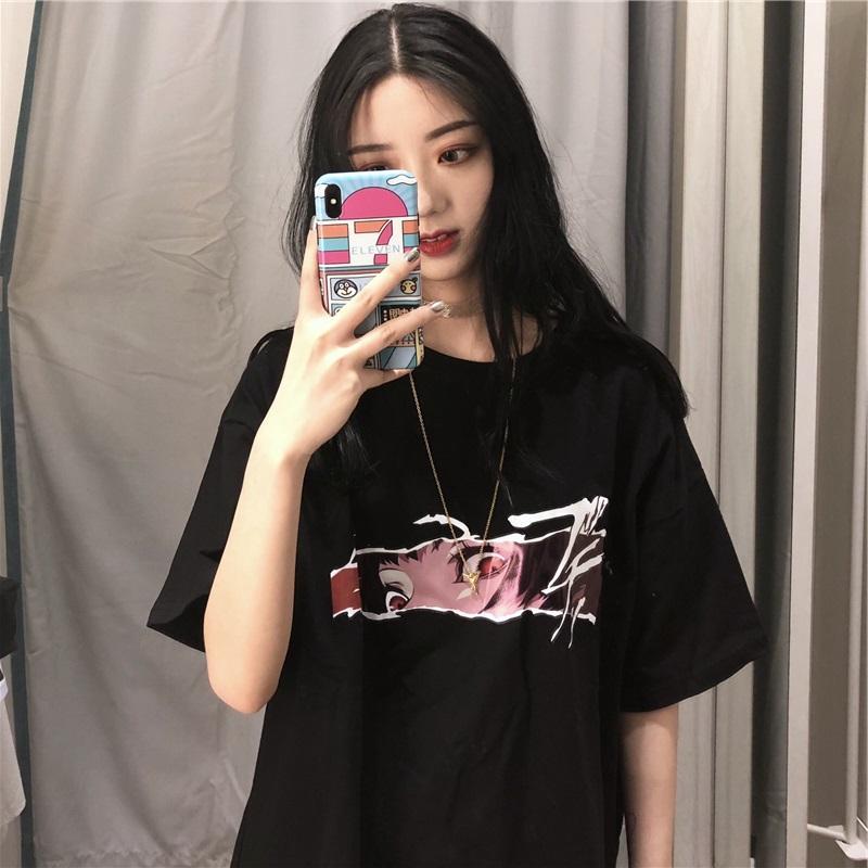 Broch Vintage imprimé noir causales sélectionl t-shirt à manches courtes en vrac été Femme T-shirts tops streetwear hip hop