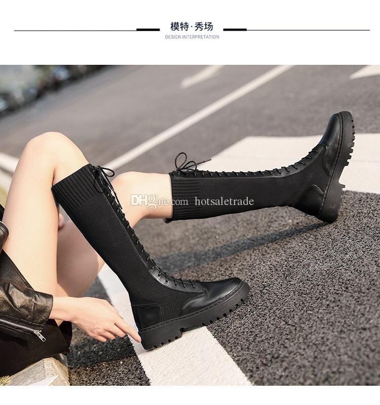 Stiefel Frauen Knight Boote Cowskin Qualitäts-Booties Damenschuhe Klassisches Schwarz mit dem Kasten