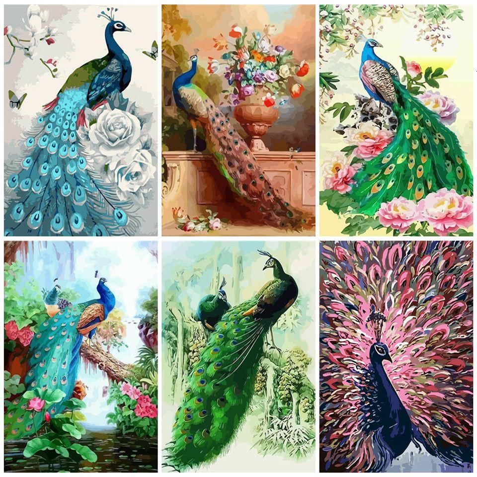 la pared del arte pintura de DIY por la decoración de la lona Número de animales Kits Para el hogar para colorear pavo real de Numbers Pintura acrílica Regalo hecho a mano