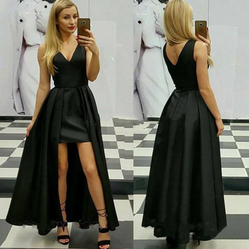 Sexy Black A-Line Пром платье со съемной юбкой V-образный вырез Zipper назад Вечерних платья партии арабского Дубайского платье выпускного вечера
