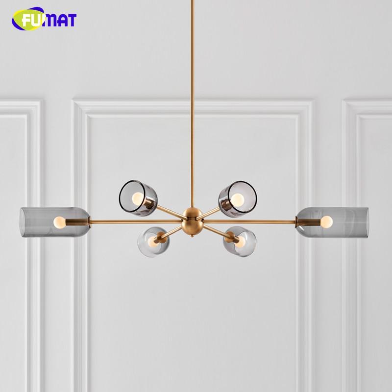 Fumat moderna grigio fumo lampadario LED soggiorno apparecchi di illuminazione da letto sala da pranzo nordici lampada in vetro appeso luce lusso