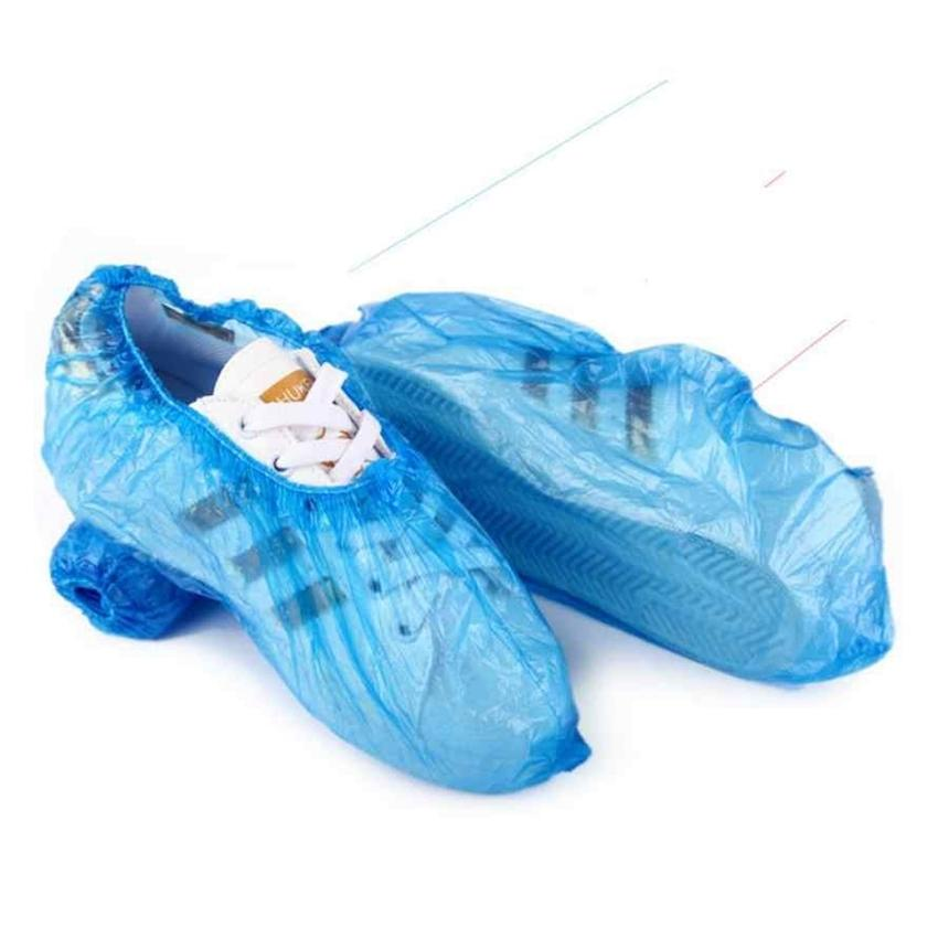 Plastic Waterproof Disposable Shoe Covers Rain Day Carpet Floor Protector Blue Cleaning Clean Carpet Shoe CoverOvershoes For Home