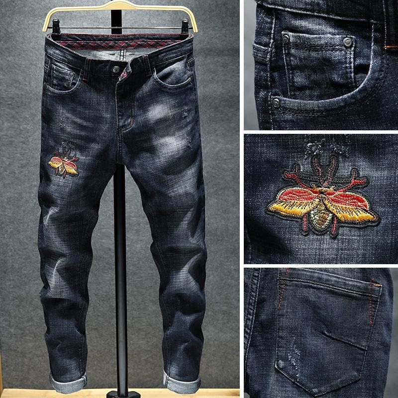 nHrX9 YXdpv und Herbst-Winter-Stil schlank und personifizierte gestickte Jeans Jeans bestickt Jugend Männer schwarze Stretch-Knöchel Hosen mich trendy