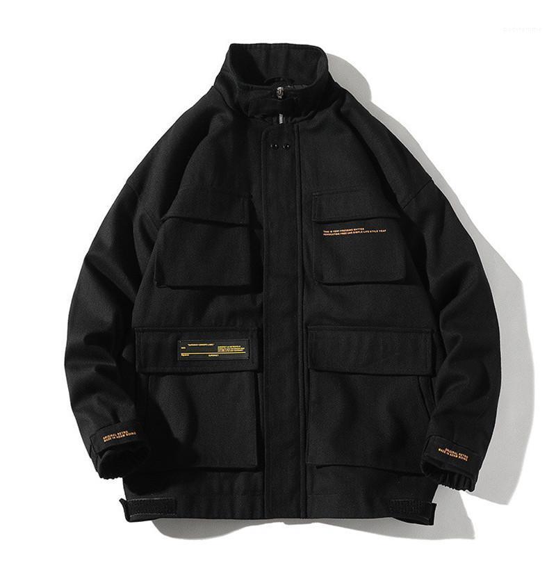 Düğme İlkbahar Sonbahar Mens ile Designer ceketler Casual Standı Yaka Erkek Kargo Coats Erkek Gevşek Dış Giyim