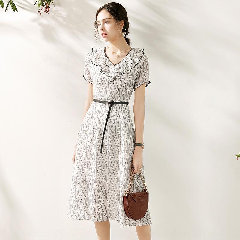 2005209-2020 primavera vestido e no verão nova romântico francês colarinho de babados faixa vertical padrão de vestido de emagrecimento BQhvg