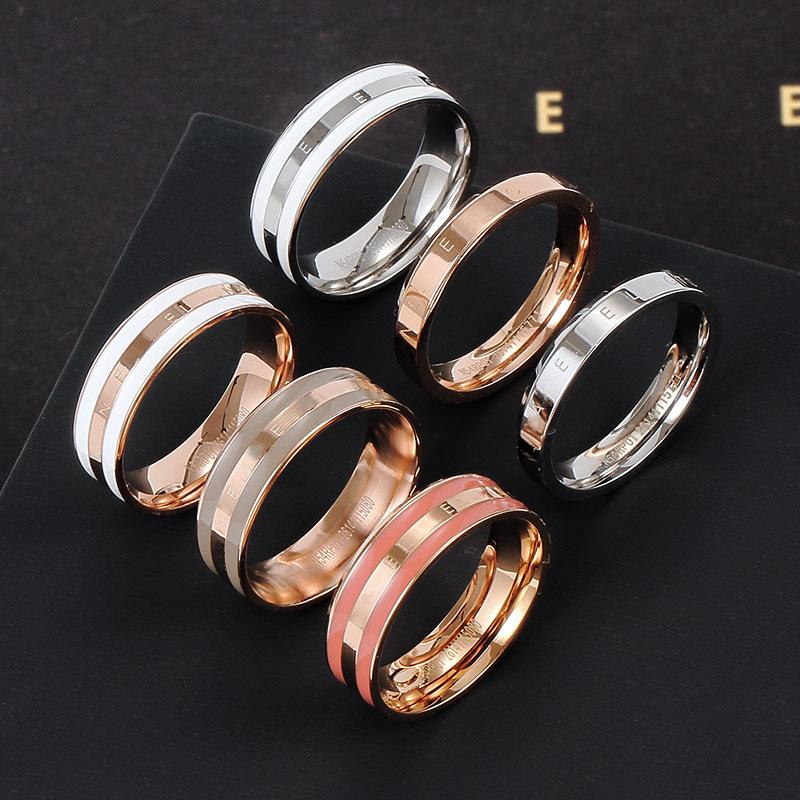 New titanium steel jewelry D home ring female color enamel drop gel fashion minimalist stainless steel mens ring love ring