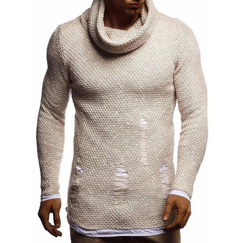MUYOGRT Erkek Sıcak Kapşonlu Kazaklar Giyim Sonbahar Kış Erkek Kazak Moda Örme Ahlak Turtleneck Sweatshirt Yetiştirmek