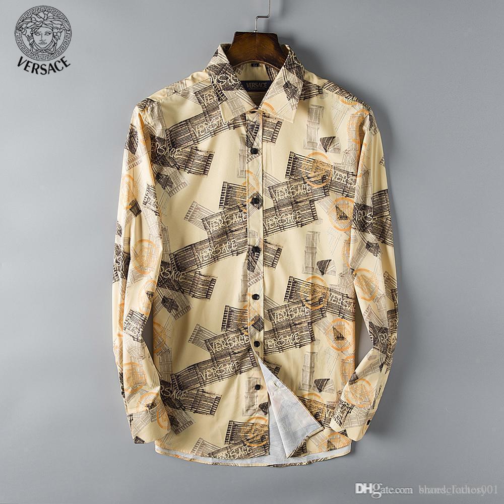 Mens de lujo de diseño de manga larga camisas de vestir de negocios firmate cajas del teléfono camisas ocasionales de la manera marca de diseño Camisa 173