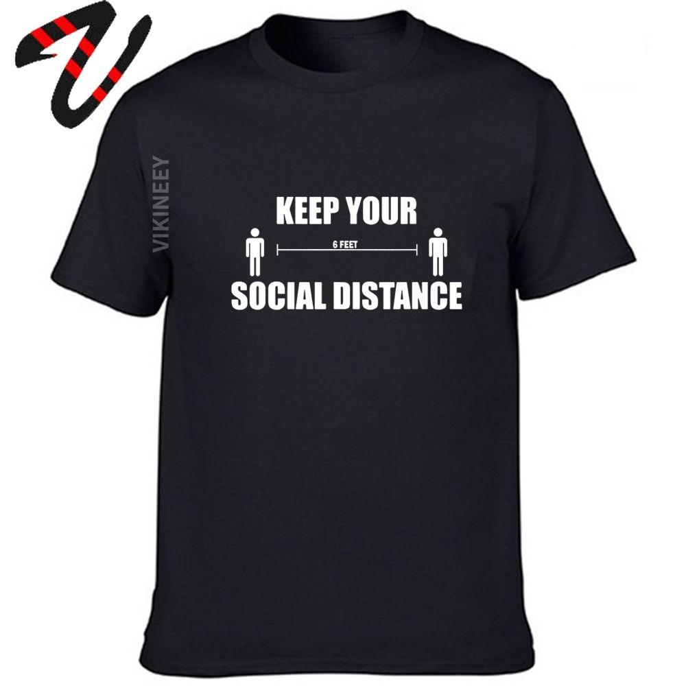 Mantenha distância social camiseta Homens Casual O-Neck camisola Camiseta HipHop Streetwear Camiseta Homens Top Tee camisa da roupa