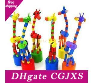 Colorful giocattolo di legno animale Stare in piedi giraffa del giocattolo del bambino della decorazione della casa a caso Consegna Giocattoli di legno