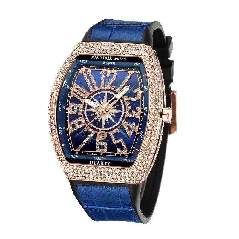 Elegante blaue Art und Weise Luxus-Designer-Diamant Alligatorlederarmband Kalendertag Quarzuhren für Männer Frauen