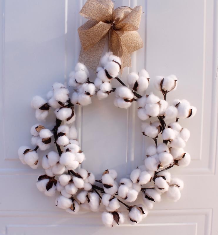 DIY Simulation artificielle guirlande de fleurs Couronne Ensemble réel coton Couronne de Noël Ferme Vintage mariage Décoration de Noël