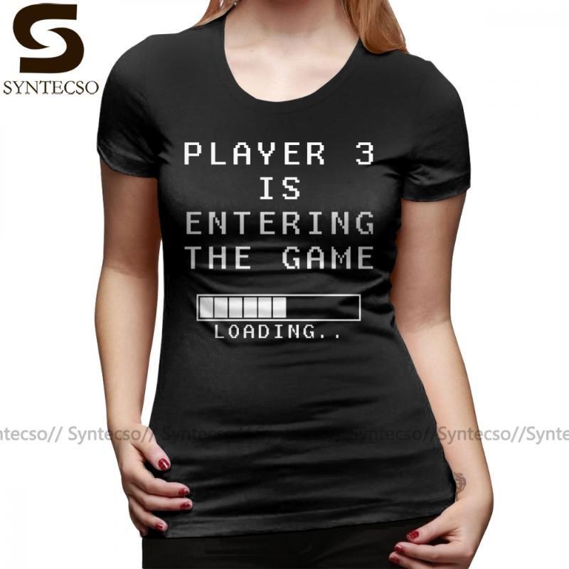 Pregnancy Announcement T-Shirt Player 3 Is Entering The Game T Shirt Large O Neck Women tshirt Black Ladies Tee Shirt