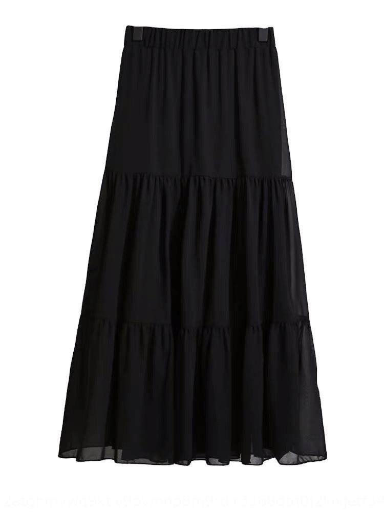 lOwVj 2020 nova elástica longo muito solto grande saia A- fêmea três costurando-cintura emagrecimento fêmea em forma de Comprimento Médio estudante saia vestido