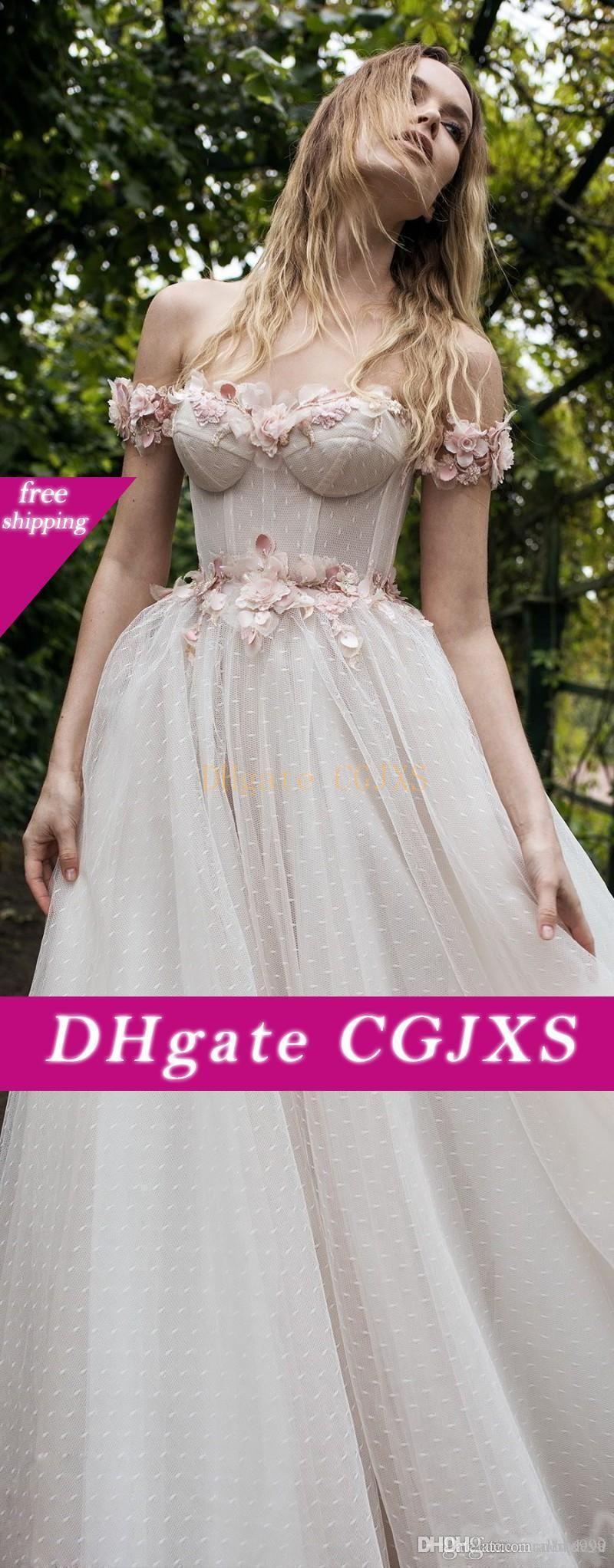 Lian Rokman 2019 vestidos de boda del rosa de encaje de flores apliques fuera del hombro Backless atractivos Vestidos de novia barrer tren vestidos de una boda -Line