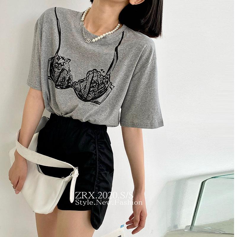 m0aeA 5QcBW Frauen losen im koreanischen Stil T-Shirt T-Shirt-BH BH Brust West Tattoo mit vielseitig Student Rundhals Kurzarm-Top 2020