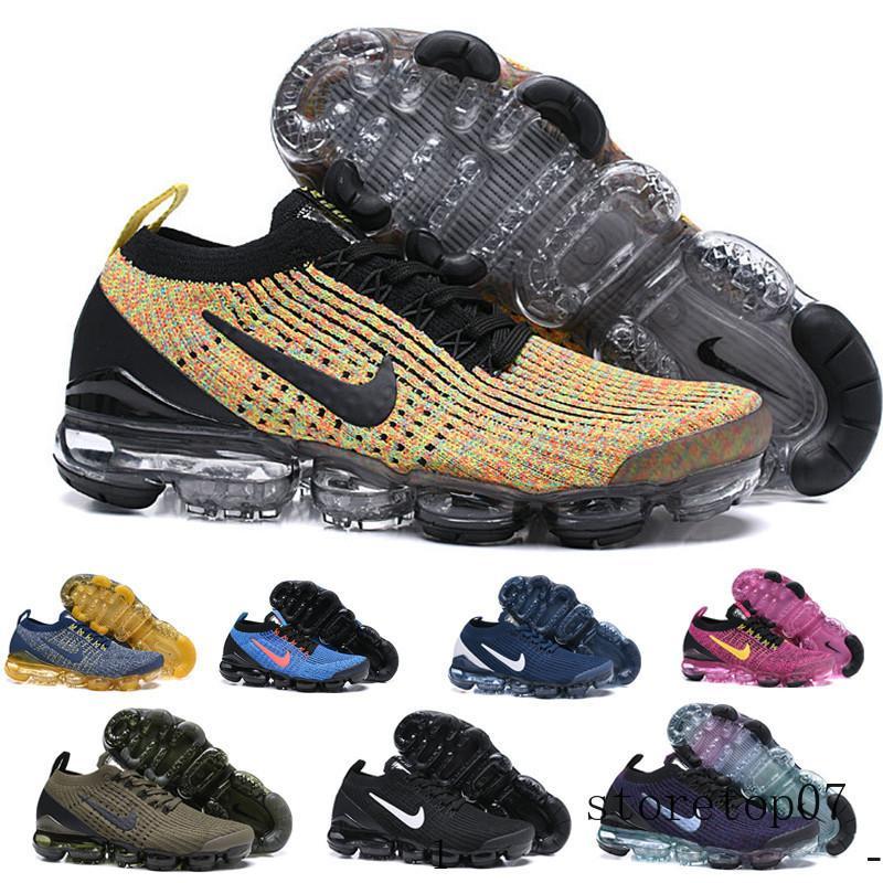 nike Vapormax air max flyknit 1.0 2.0 Pas cher Knit 1.0 2.0 3.0 Hommes chaussures de course Triple blanc formateur coussin Black Heritage hommes vêtements de sport en plein air