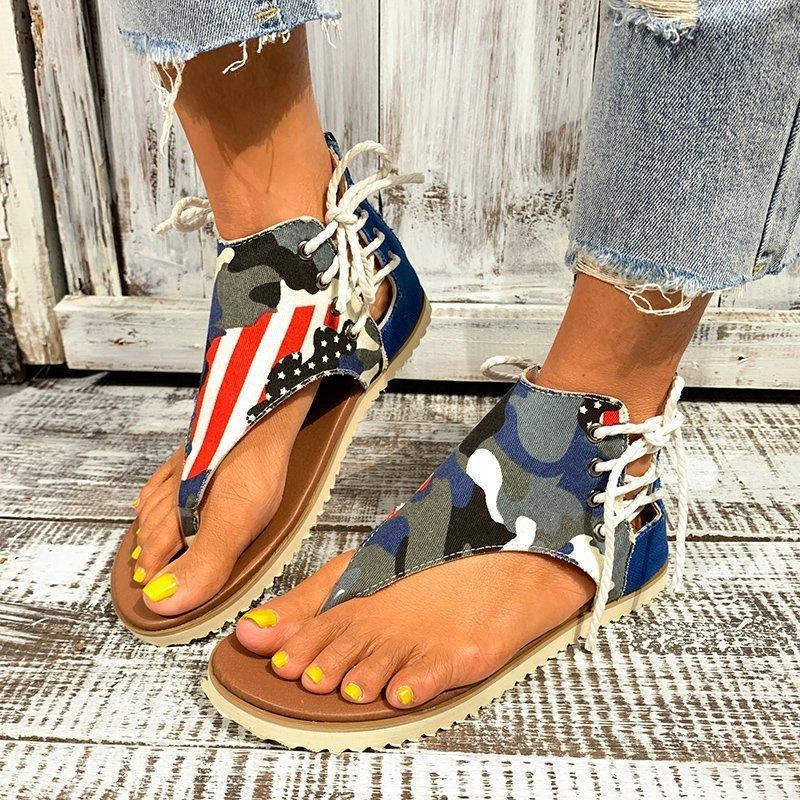 Sandali Donne Estate Flat Fashion Moda Camouflage Outdoor Zipper Lace Up Scarpe Anti-slip Beach Pelle Zapatos