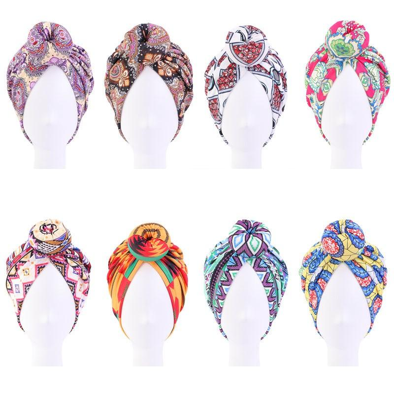New Indian arab wrap women islamic head scarf turban caps trendy printed hijab bonnet Bohemian ethnic inner hijabs for cap