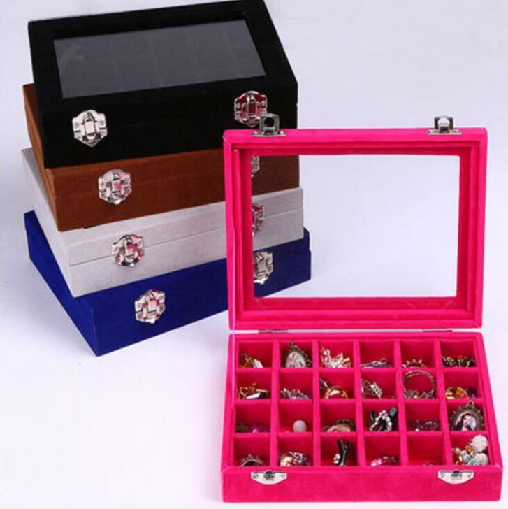 Joyería de terciopelo Cajas de almacenamiento de terciopelo de cristal anillo de pantalla caja de la bandeja del sostenedor del organizador pendientes de almacenamiento caso de almacenamiento de 24 Sección Cajas BLSK168